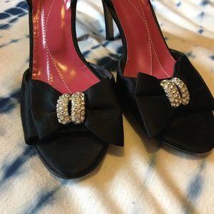 Kate Spade NY Satin Rhinestone Bow Black Heels